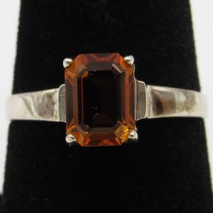 Vintage Size 8 Sterling Orange CZ Diamond Ring